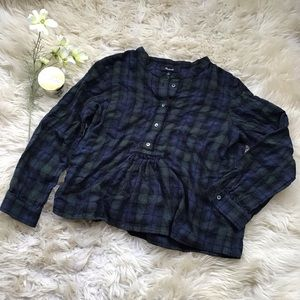 Madewell Plaid Babydoll Button up